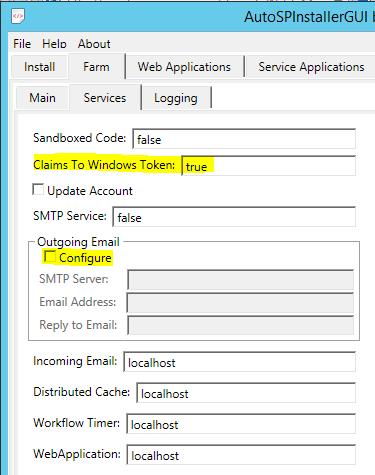 AutoSPInstallerGUI Farm-Services Tab