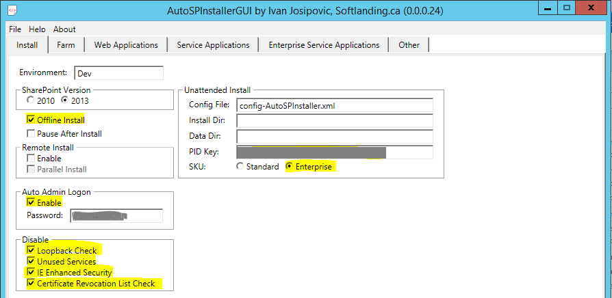 AutoSPInstallerGUI Install Tab