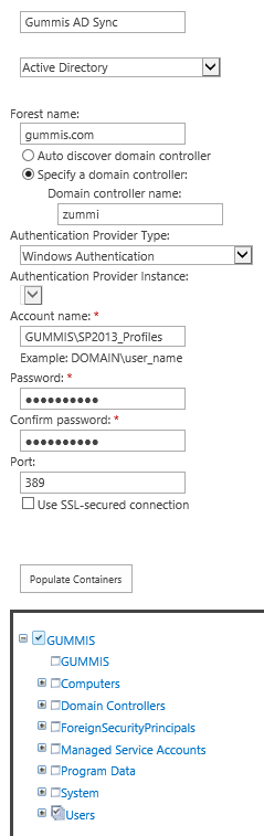 SharePoint 2013 User Profile Sync Connection