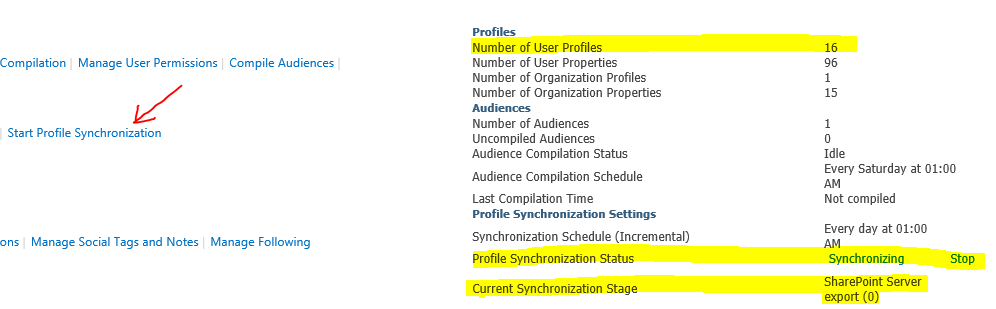 SharePoint 2013 User Profile Sync Status