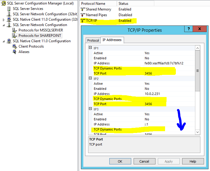 sql server named instance static port