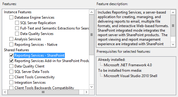 sql server reporting services feature installation
