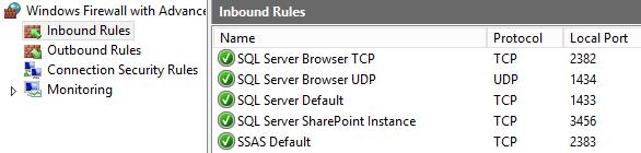 windows firewall sql services