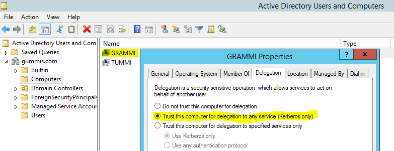 ad enable kerberos delegation sharepoint server