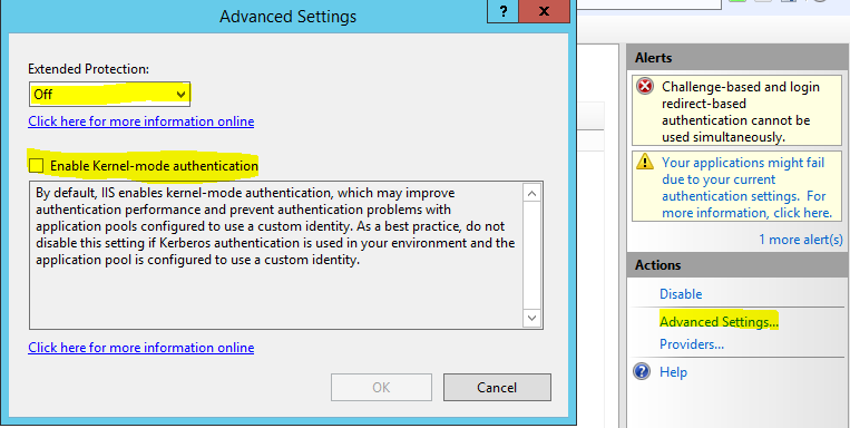 sharepoint 2013 kerberos iis windows auth configuration advanced