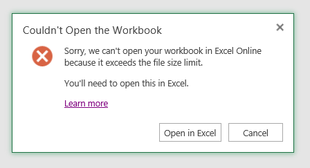 Power BI 250mb workbook size limit