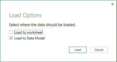powerquery load data to model