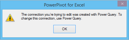 to change this connection use power query