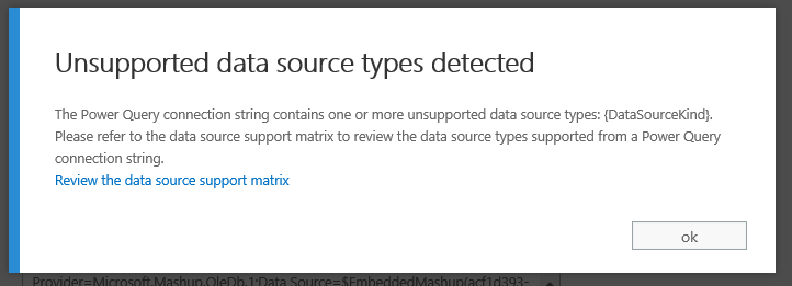 unsupported data source types detected