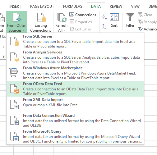 Import office 365 sharepoint list excel data tab
