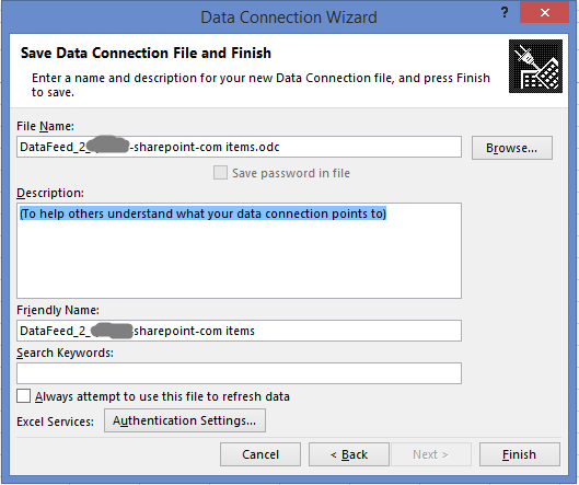 data tab excel odata feed connection