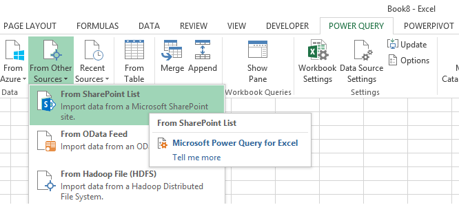 import office 365 sharepoint list power query