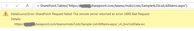 powerquery sharepoint list error