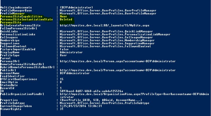 SharePoint My Site deleted properties powershell