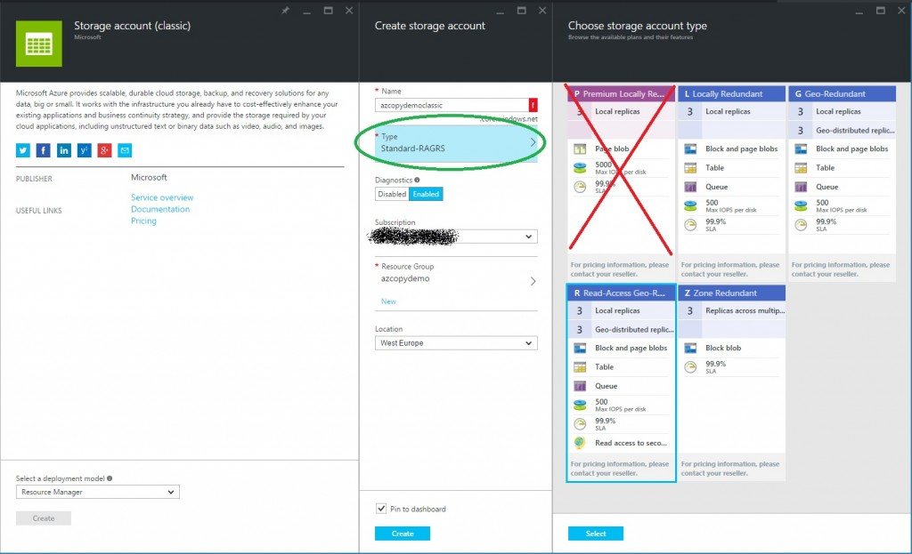 azure create storage account choose type