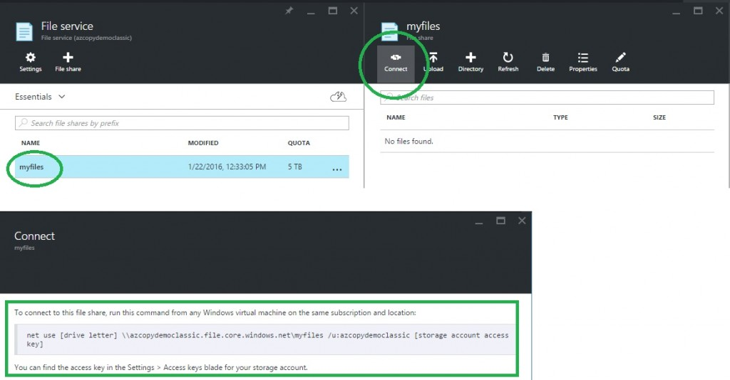 azure create storage account file share connect