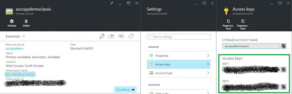azure create storage account find keys