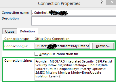 excel connection string odc cube